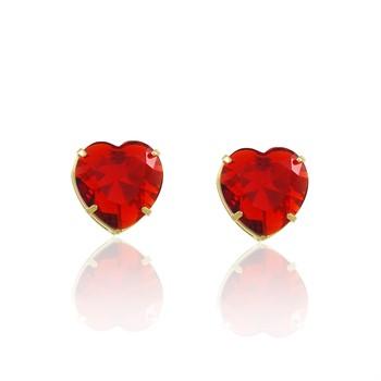 Brinco Coração Médio Zircônia Vermelha - BR4710