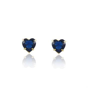 Brinco Coração Zircônia Azul - BR4638