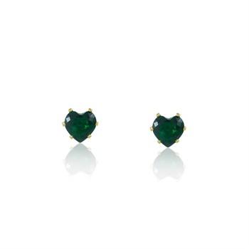 Brinco Coração Zircônia Verde - BR4513