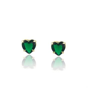 Brinco Coração Zircônia Verde - BR4639