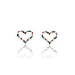 Brinco Coração Zircônias Coloridas Semi joias Atacado  -  BR4637