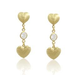 Brinco Coração e Zircônia Semi joias Atacado  -  BR4781