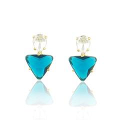 Brinco Cristal Azul Semi joias Atacado  -  BR4643