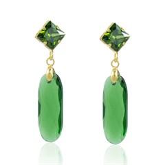 Brinco Cristal Verde Semi joias Atacado  -  BR4538
