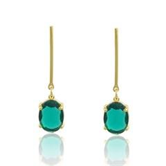Brinco Cristal Verde Semi joias Atacado  -  BR4598