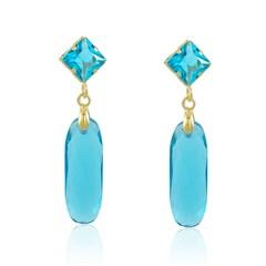 Brinco Cristal azul Semi joias Atacado  -  BR4535
