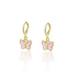 Brinco Infantil Borboletinha Cristal Rosa Semi joias Atacado  -  BR4730