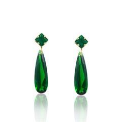 Brinco Pedra Verde Semi joias Atacado  -  BR4498