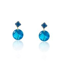 Brinco Zircônia Azul Semi joias Atacado  -  BR4503