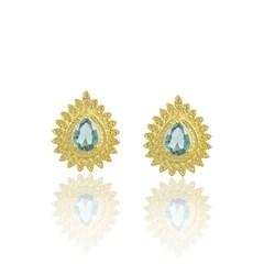 Brinco Zircônia Azul Semi joias Atacado  -  BR4613