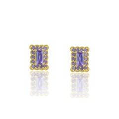 Brinco Zircônia Lilás Semi joias Atacado  -  BR4618