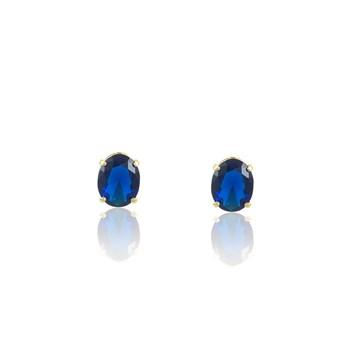 Brinco Zircônia Oval Azul - BR4586