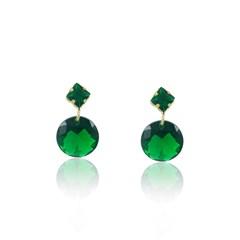 Brinco Zircônia Verde Semi joias Atacado  -  BR4502