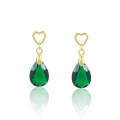 Brinco Zircônia Verde Semi joias Atacado  -  BR4533