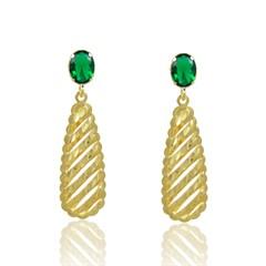 Brinco Zircônia Verde Semi joias Atacado  -  BR4705