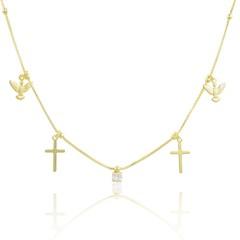 Gargantilha Espírito Santo Cruz e Zircônia Semi joias Atacado  -  40 cm