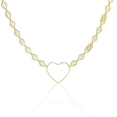 Gargantilha Coração Semi joias Atacado  -  40 cm