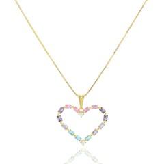 Gargantilha Coração Cristais Semi joias Atacado  -  GA1085