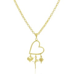 Gargantilha Coração Fé Semi joias Atacado  -  60 cm