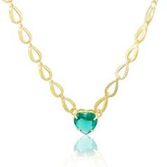 Gargantilha Coração Verde Àgua Semi joias Atacado  -  40 cm
