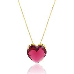 Gargantilha Coração Vermelho Semi joias Atacado  -  GA748