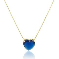 Gargantilha Coração Zircônia AzulSemi joias Atacado  -  GA970