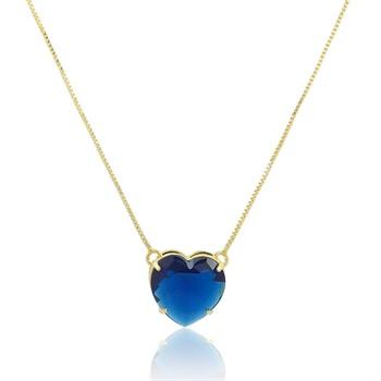 Gargantilha Coração Azul- GA970