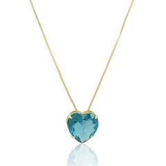 Gargantilha Coração Azul Semi joias Atacado  -  GA1012