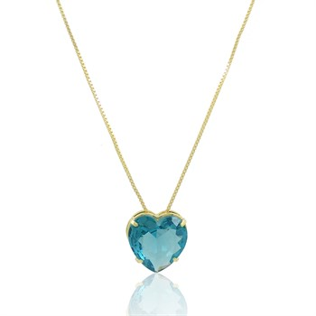Gargantilha Coração Azul - GA1012