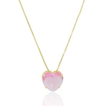 Gargantilha Coração Rosa - GA1013