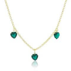 Gargantilha Coração Zircônia Verde Semi joias Atacado  -  50 cm