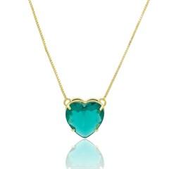 Gargantilha Coração Zircônia Verde Semi joias Atacado  -  GA971