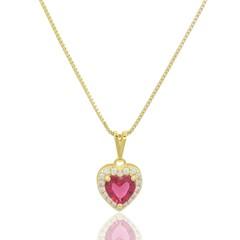 Gargantilha Coração Zircônia Vermelha e Zircônias Semi joias Atacado  -  GA979