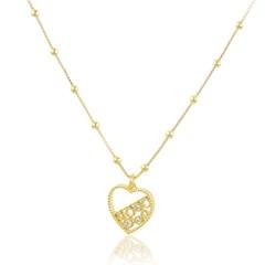 Gargantilha Coração Zircônias Semi joias Atacado  - 40 cm