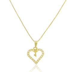 Gargantilha Coração Zircônias Semi joias Atacado  -  GA1004