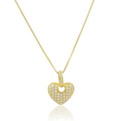Gargantilha Coração Zircônias Semi joias Atacado  -  GA1126
