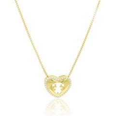 Gargantilha Menina Coração Zircônias Semi joias Atacado  -  GA1005