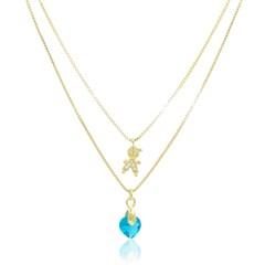 Gargantilha Menino Zircônias e Coração Zircônia Azul Semi joias Atacado  -  GA912