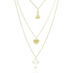 Gargantilha Nossa Senhora Aparecida Coração e Cruz Semi joias Atacado  -  GA915