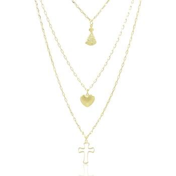 Gargantilha Nossa Senhora Aparecida Coração e Cruz - GA915