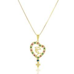 Gargantilha Nossa Senhora Zircônias Semi joias Atacado  -  GA1136
