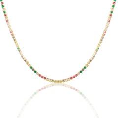 Gargantilha Zircônias Coloridas Semi joias Atacado  -  40 cm