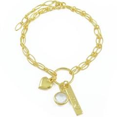 Pulseira Coração Amor e Cristal Semi joias Atacado  -  PL1583