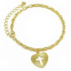 Pulseira Coração Cruz Semi joias Atacado  -  PL1581
