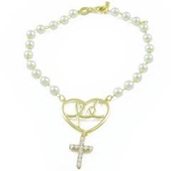 Pulseira Coração Fé Cruz e Pérolas Semi joias Atacado  -  PL1524