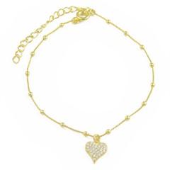 Pulseira Coração Zircônias Semi joias Atacado  -  PL1618
