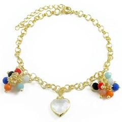 Pulseira Coração e Cristais Coloridos Semi joias Atacado  -  PL1507
