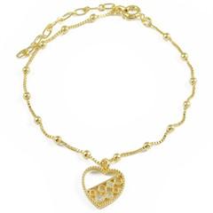 Pulseira Coração zircônias e Bolinhas Semi joias Atacado  -  PL1642