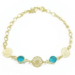 Pulseira Cristal Azul Semi joias Atacado  -  PL1548