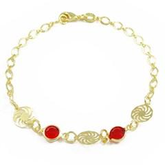 Pulseira Cristal Vermelho Semi joias Atacado  -  PL1547